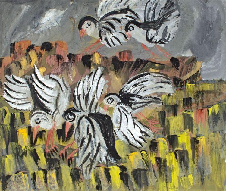 Gladys Mgudlandlu; Birds over a Field