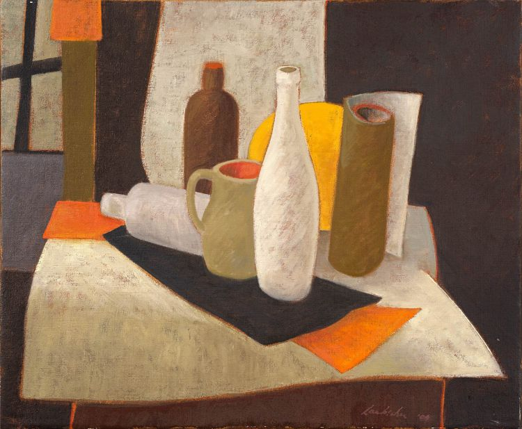 Erik Laubscher; Still Life with White Bottles
