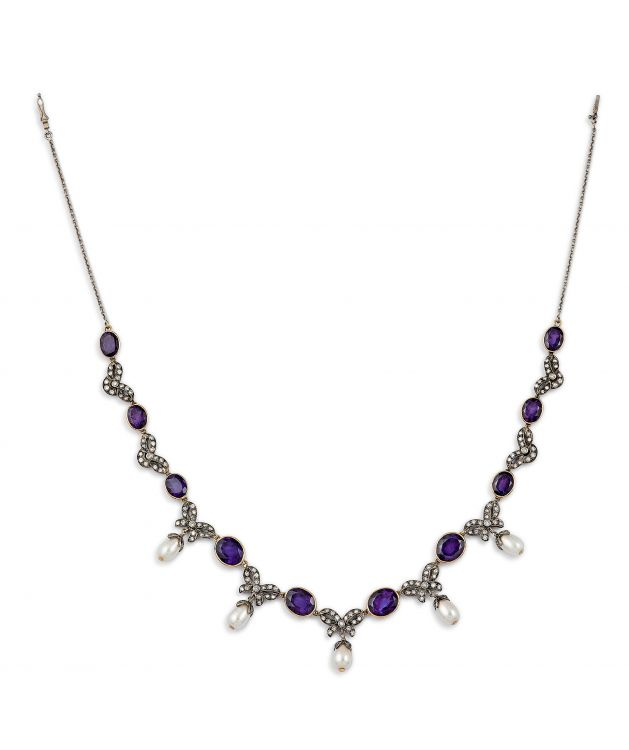 Amethyst, diamond and pearl necklace
