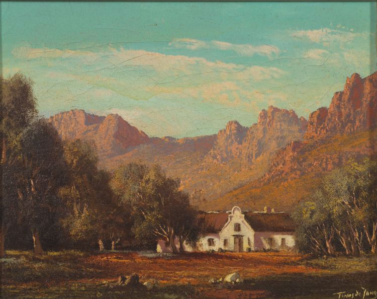 Tinus de Jongh; Cape Homestead with Mountains Beyond