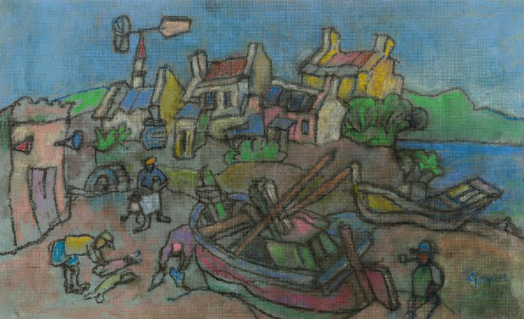 Gregoire Boonzaier; Fishermen's Cottages and Boats, Cape