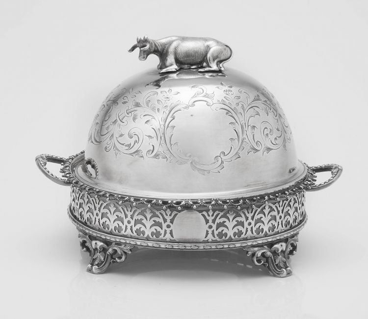 A Victorian silver-plated covered butter dish, maker's mark indistinct, 2 November 1859