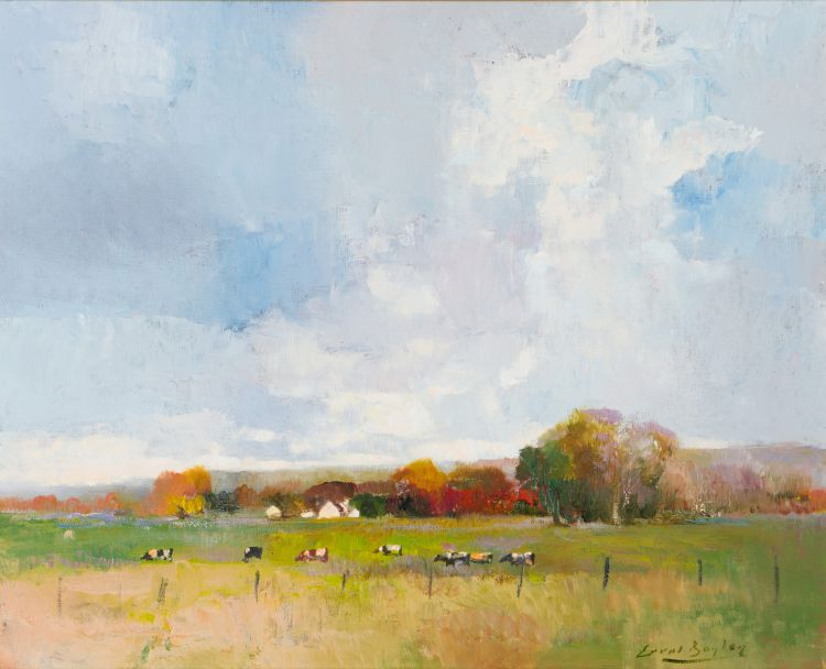 Errol Boyley; Autumn Landscape with Grazing Cattle