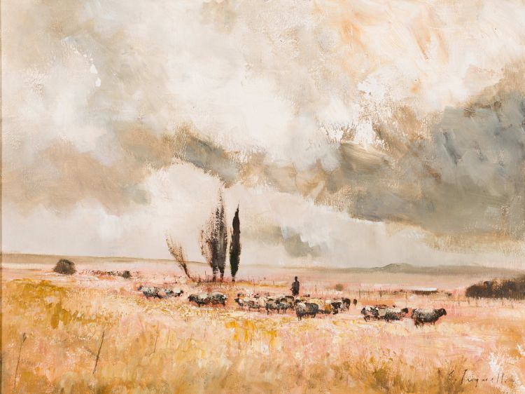 Christopher Tugwell; Landscape with Flock of Sheep