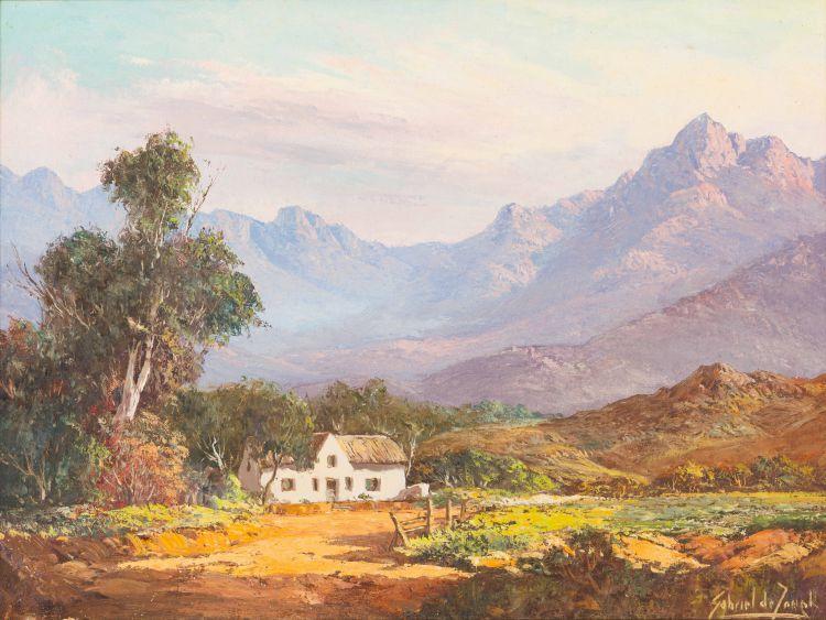 Gabriel de Jongh; Farmhouse in Mountain Landscape