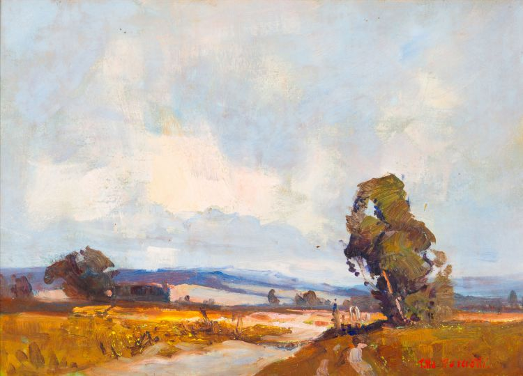 Titta Fasciotti; Landscape with River and Tree