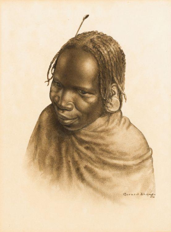 Gerard Bhengu; Portrait of a Young Woman