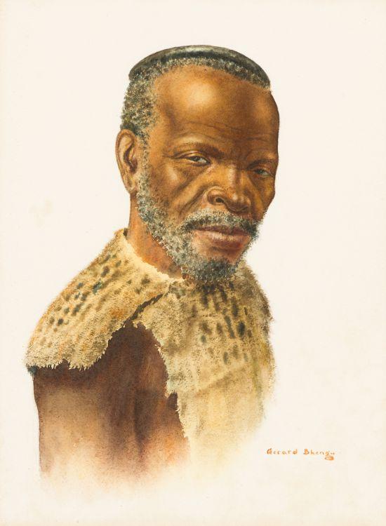 Gerard Bhengu; Portrait of a Man Wearing Head Ring