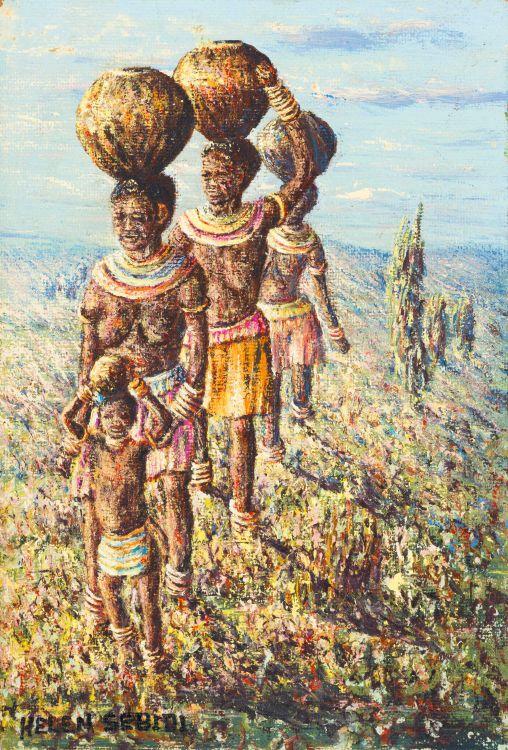Mmakgabo Mmapula Helen Sebidi; Ndebele Girls, from the Well, near Witbank, Tvl