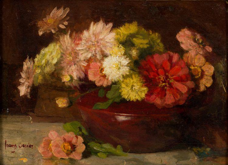 Frans Oerder; Still Life with Zinnias