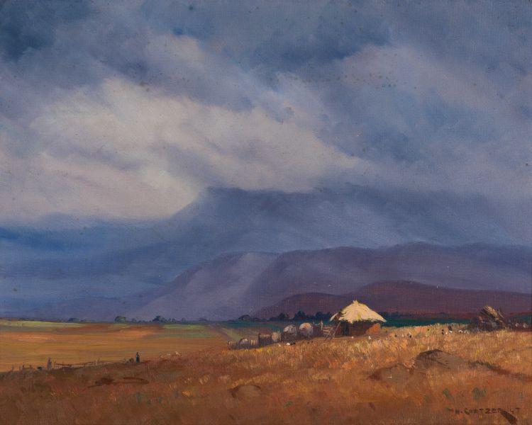 Willem Hermanus Coetzer; Homestead in Mountain Landscape