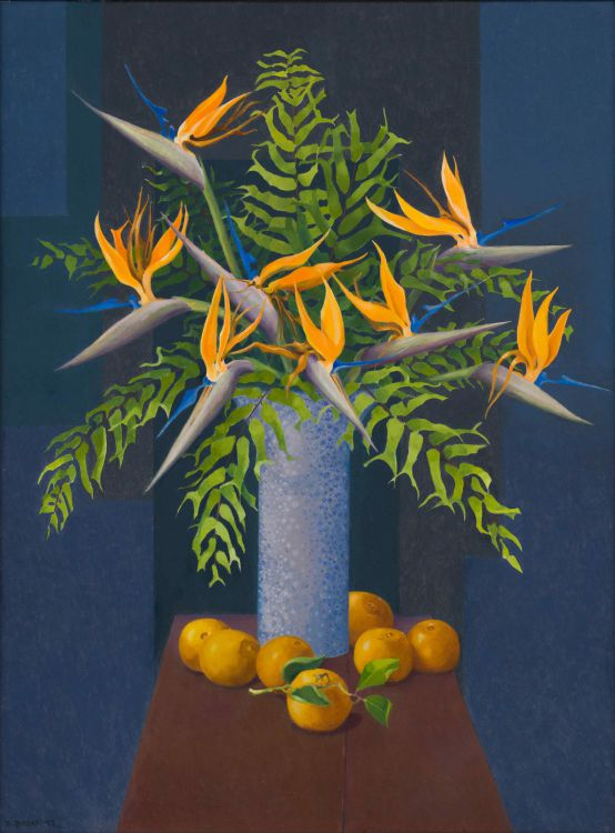 Diamond Bozas; Still Life with Strelitzias, Oranges and Ferns