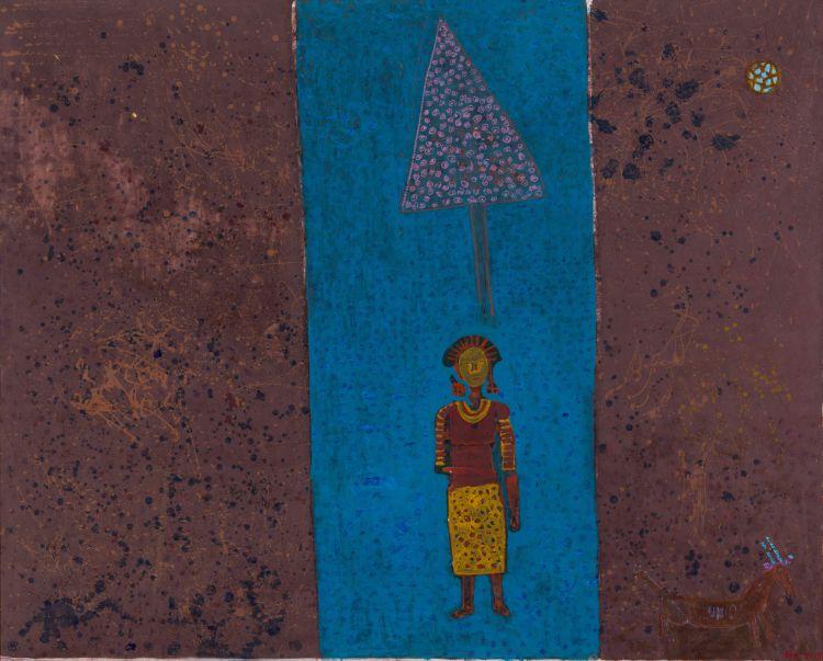 Paul Sekete; Figure, Tree and Antelope