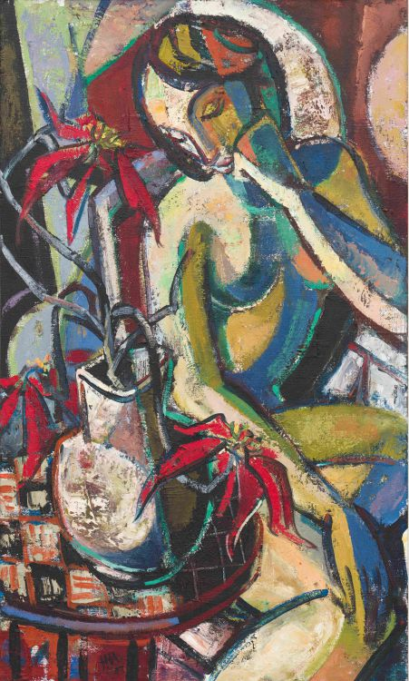 Hennie Niemann Jnr; Seated Nude with Poinsettias