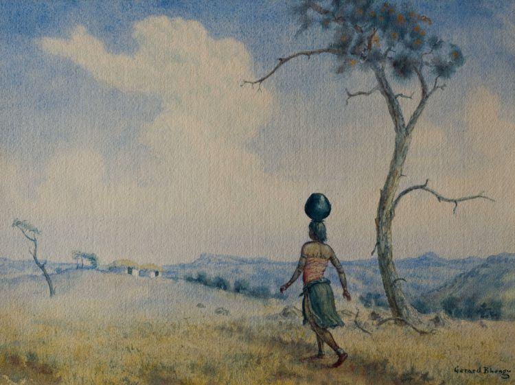 Gerard Bhengu; Woman Carrying Water Pot