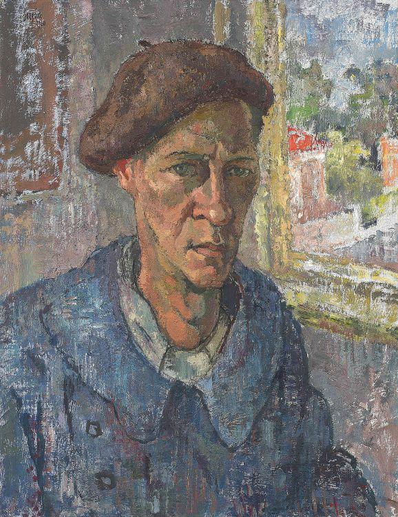 Gregoire Boonzaier; Self Portrait in Blue Smock