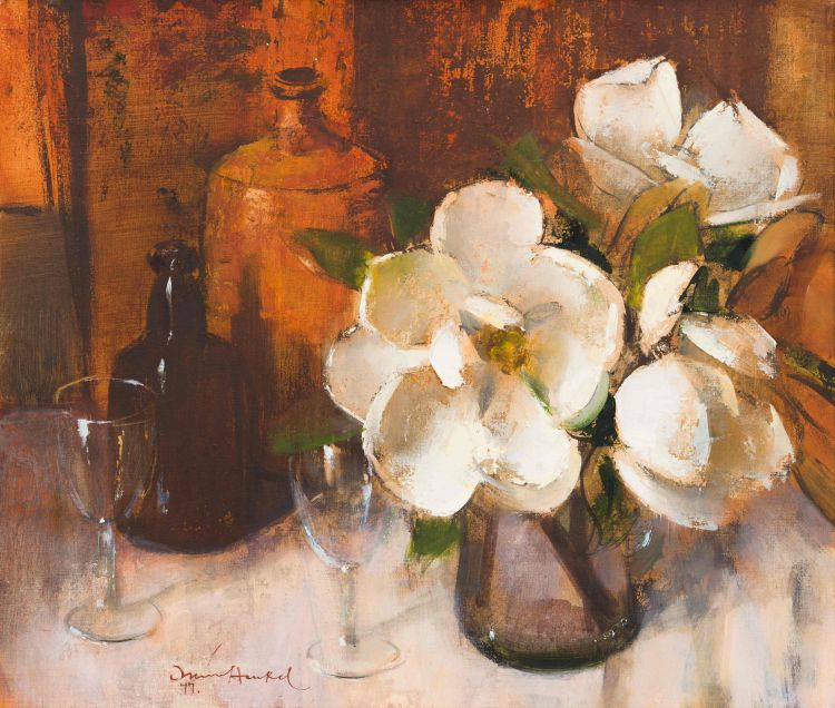 Irmin Henkel; Still Life with Magnolias, Bottles and Wine Glasses
