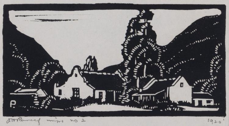 Jacob Hendrik Pierneef; Plaasgeboue (Farm Buildings) (Nilant 44)