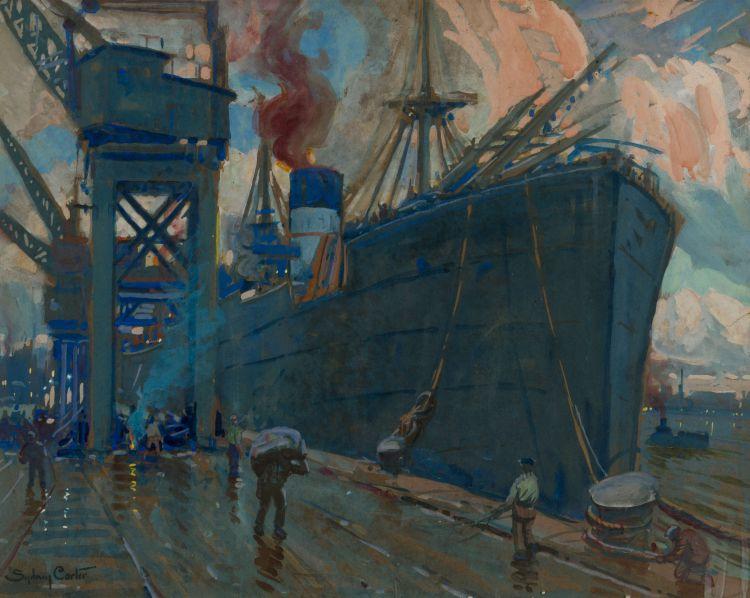Sydney Carter; Steamship in Harbour