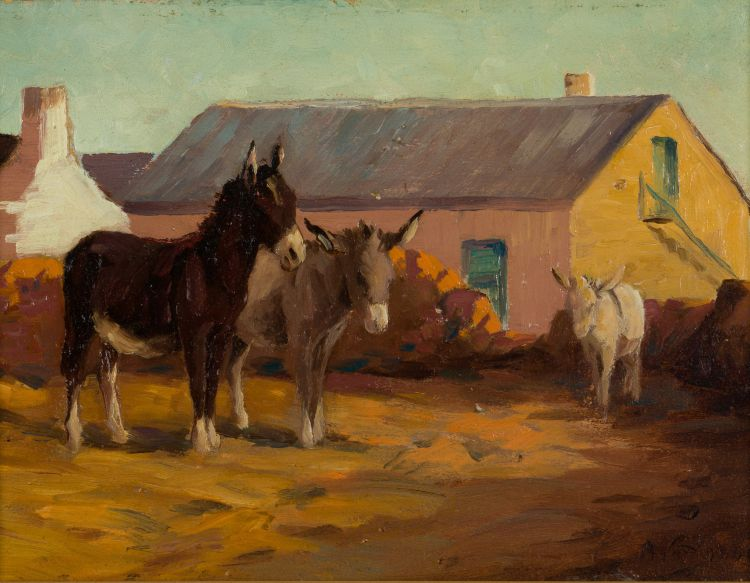 Allerley Glossop; Donkeys in Farm Yard