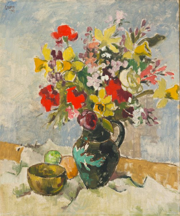 Gregoire Boonzaier; Still Life with Vase of Flowers, Bowl and Fruit