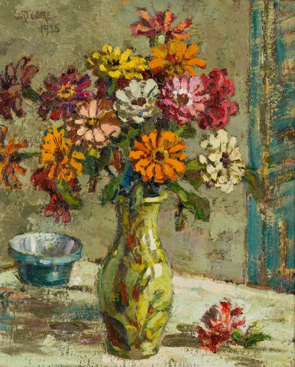 Gregoire Boonzaier; Still Life with Vase of Zinnias