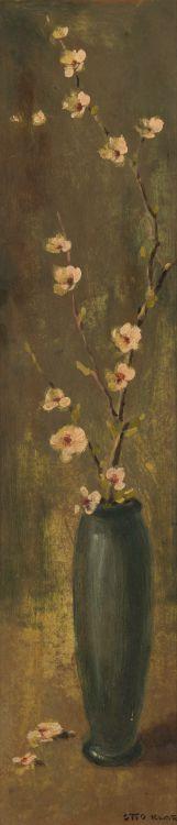 Otto Klar; Blossoms in Blue Vase