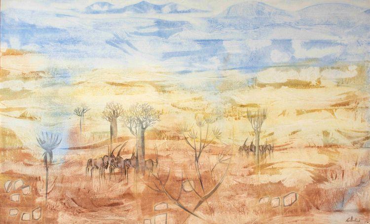 Gordon Vorster; Gemsbokke in an Extensive Arid Landscape