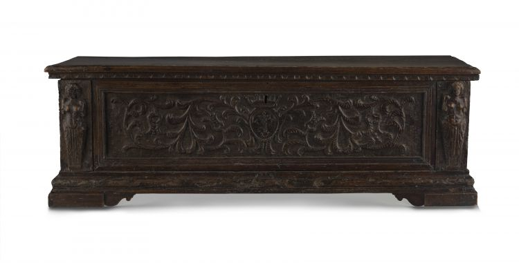 An Italian Renaissance style carved walnut cassone, 18th century and later