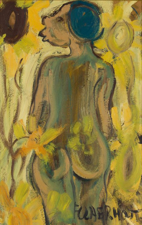 Frans Claerhout; Nude with Sunflowers