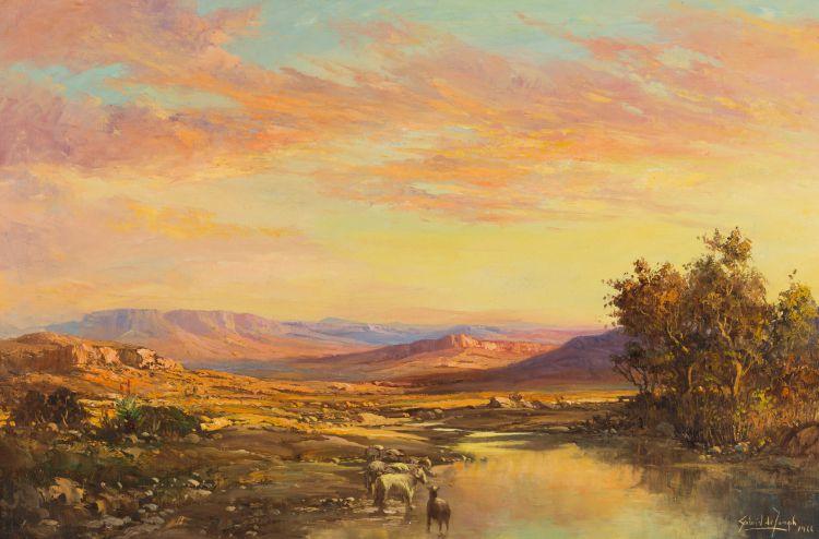 Gabriel de Jongh; Dawn Landscape with River and Sheep