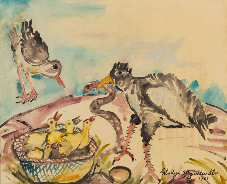 Gladys Mgudlandlu; Birds Feeding Chicks in Nest