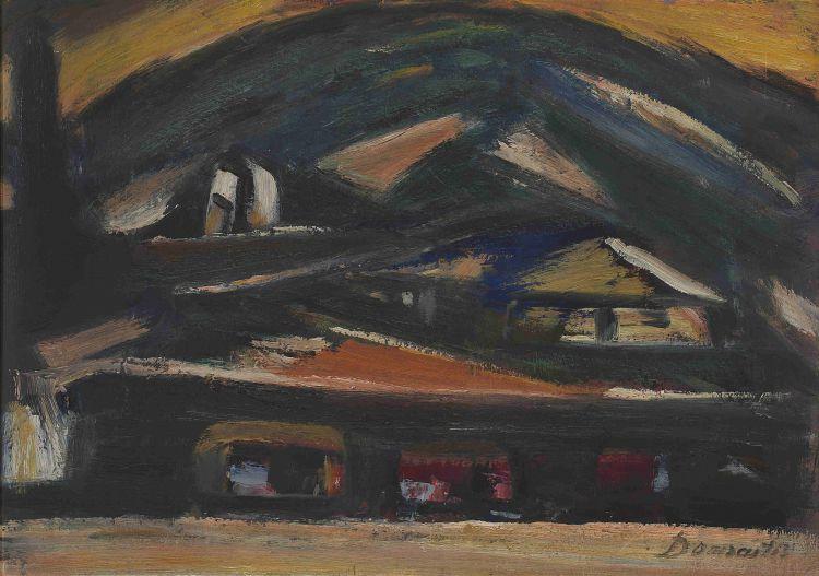 Pranas Domsaitis; Karoo Landscape with Dwellings