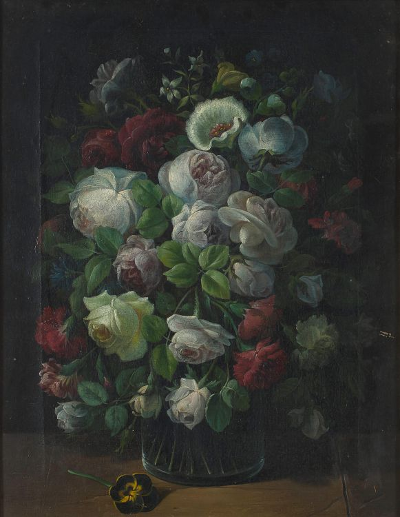 Danish School; A Still life of Flowers in a Glass Vase
