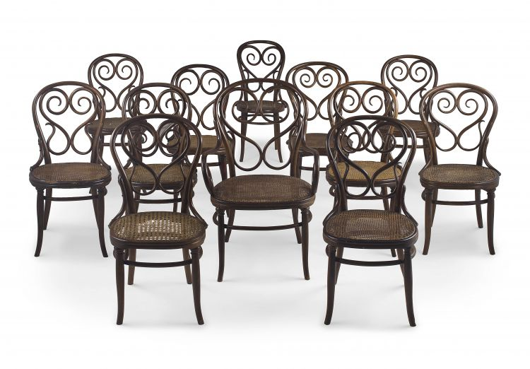 An assembled set of twelve No 4 Café Daum bentwood fruitwood Secessionist dining chairs, including an armchair, manufactured by Joseph Thonet, late 19th century