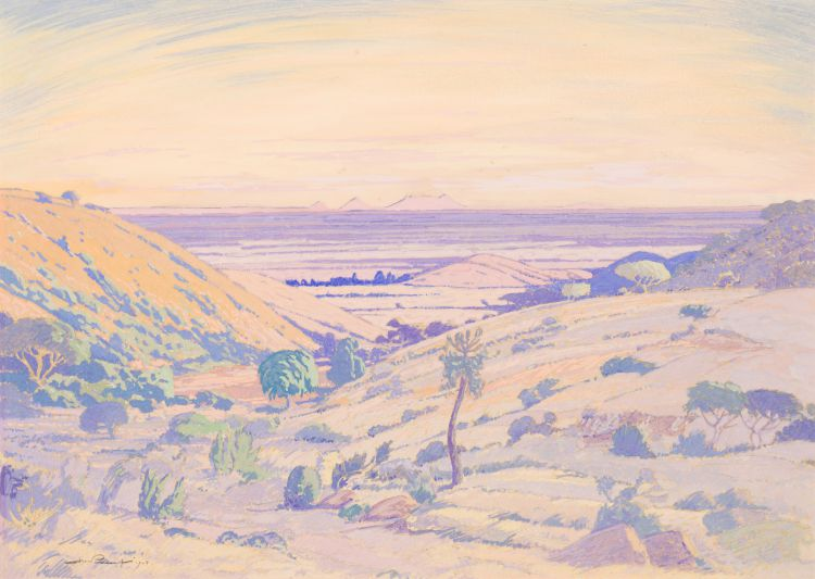 Jacob Hendrik Pierneef; Landscape with Distant Mountains