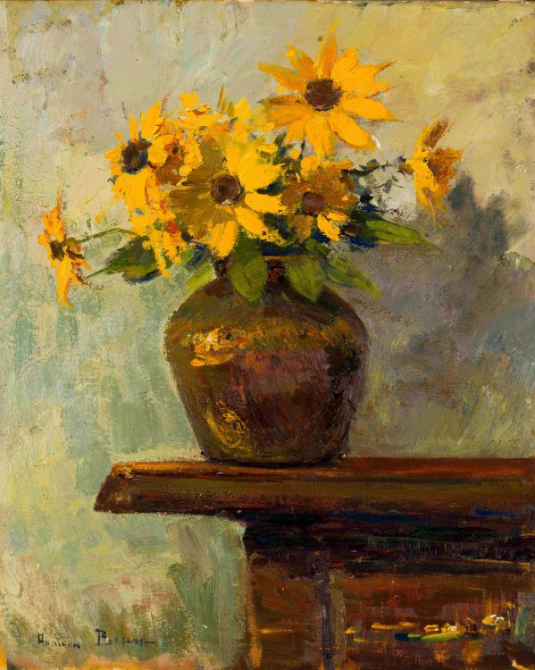 Adriaan Boshoff; Vase of Yellow Coneflowers