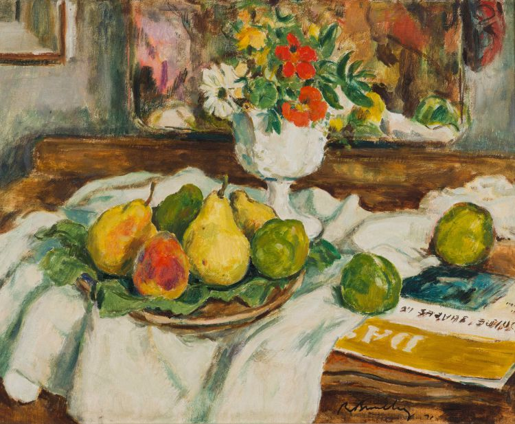 Robert Broadley; Still Life with Plate of Pears