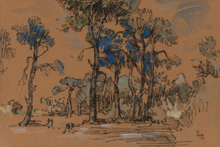Gregoire Boonzaier; Fir Trees, Kenilworth, Cape