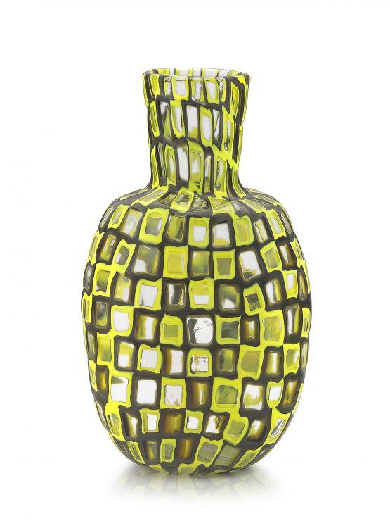 A Tobia Scarpa yellow and grey glass fused murrine vase for Venini, Occhi series, 1960s