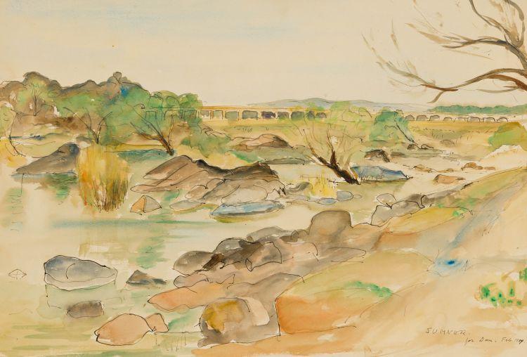 Maud Sumner; Landscape with River and Distant Bridge