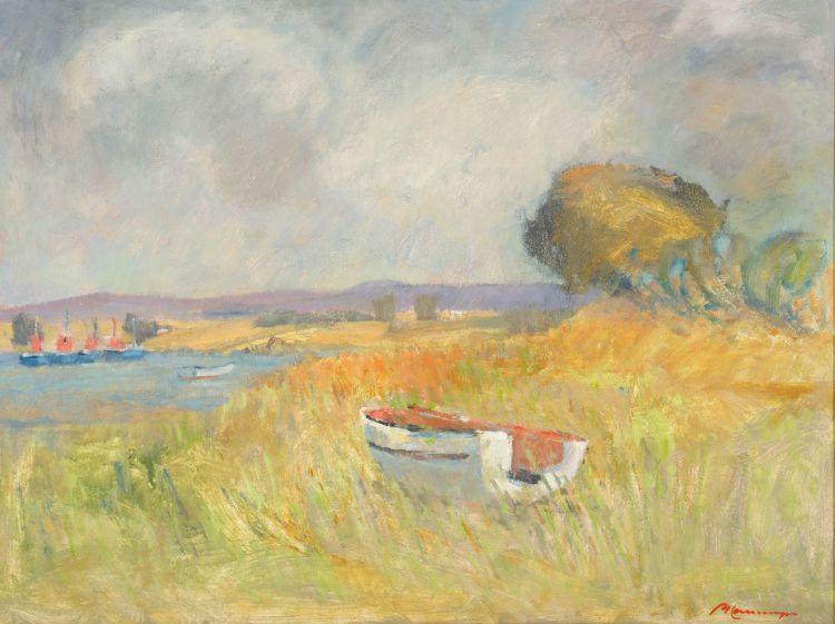 Piet Kannemeyer; A Boat by a Vlei