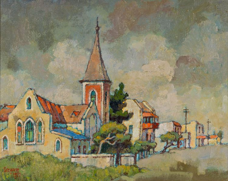Gregoire Boonzaier; Church with Red Steeple, Old Cape Town