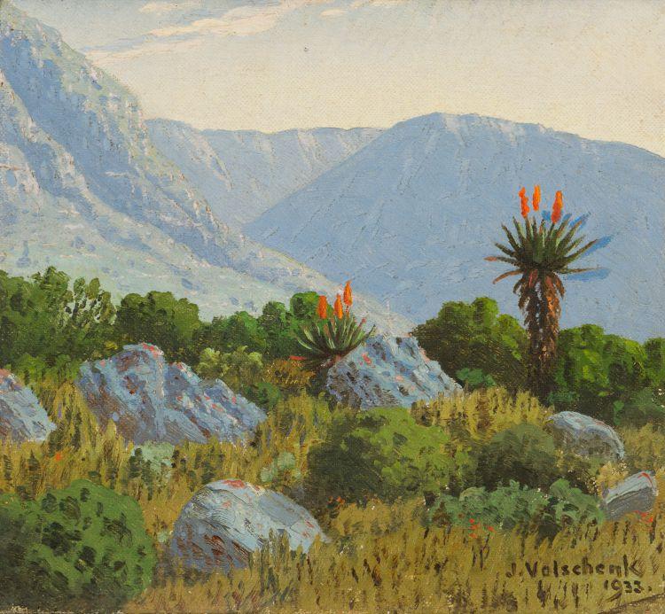 Jan Ernst Abraham Volschenk; Where the Aloe Grows near the Langeberge, Riversdale