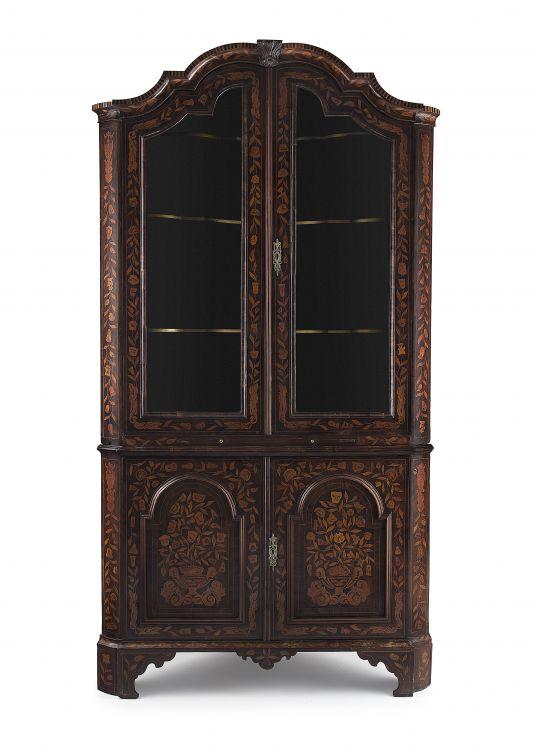 A Dutch walnut and marquetry corner cupboard, 19th century