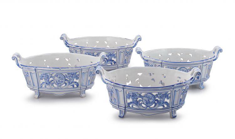 Four Emile Gallé à Nancy St Clément blue and white two-handled baskets, 19th century