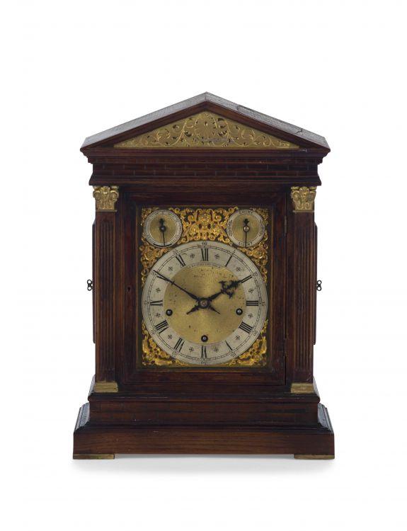 A German oak bracket clock, retailed by H F Seale, Cape Town, 20th century