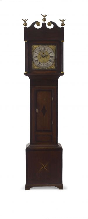 An English oak, mahogany and satinwood inlaid eight-day longcase clock, W M Glover, Worcester, circa 1780
