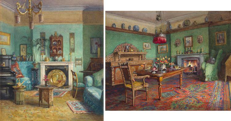 Emily Mary Bibbens Warren; Interiors, two