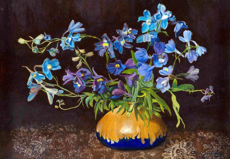 Vernon Spencelayh; Butterfly Delphiniums